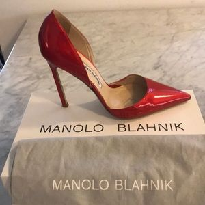 Manolo Blahnik Red Patent Leather Pumps